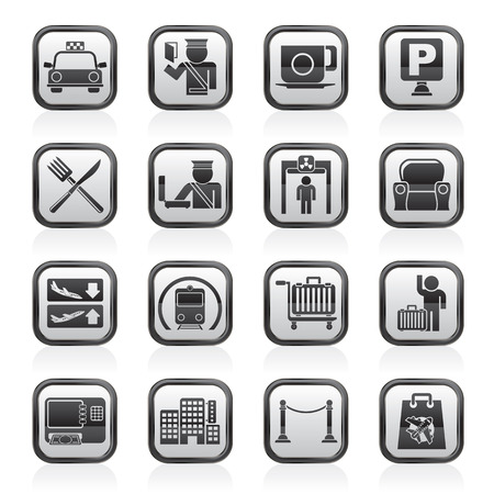 Airport, travel and transportation icons -  icon set 1 Vector
