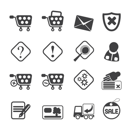 Silhouette Online Shop Icons - Icon Set Vector