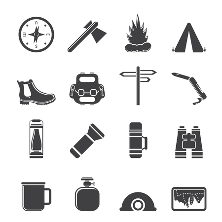 gas fireplace: Silhouette Tourism and Holiday icons - Vector Icon Set