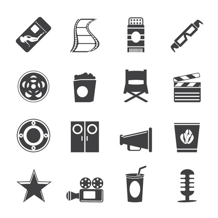 Silhouette Simple Cinema and Movie Icons -  icon set Vector