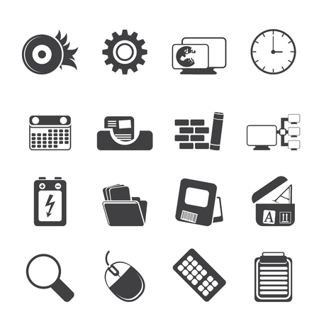 Silhouette Computer, mobile phone and Internet Icon Set Stock Vector - 23654815