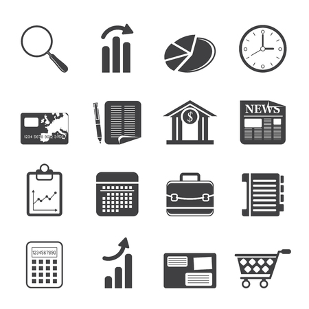 business results: Silhouette Business and Office Internet Icons - Icon Set 3