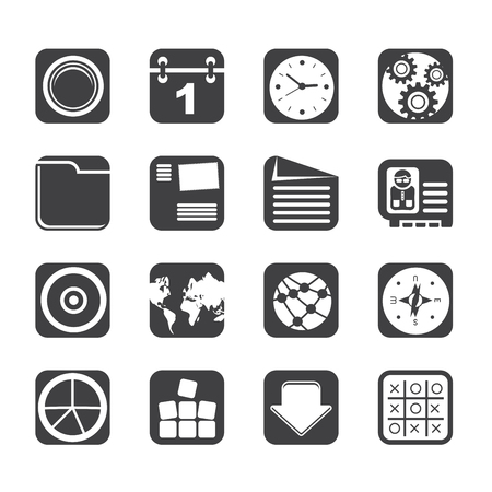 Silhouette Mobile Phone, Computer and Internet Icons - Icon Set Vector