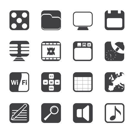 polyphony: Silhouette Phone Performance, Internet and Office Icons - Icon Set  Illustration