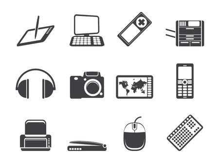Silhouette Hi-tech technical equipment icons - icon set 3 Vector