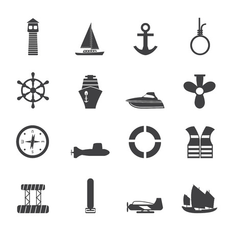 Silhouette Simple Marine, Sailing and Sea Icons - Icon Set Vector