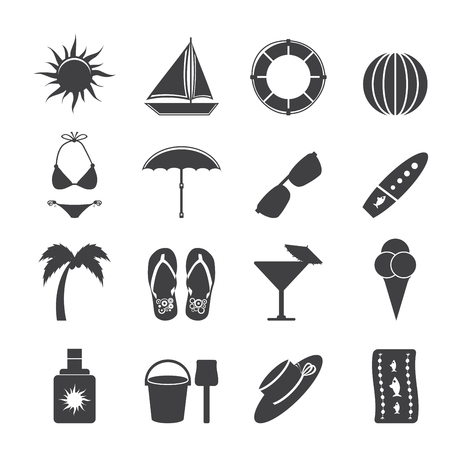 bathing suit: Silhouette Summer and Holiday Icons - Vector Icon Set Illustration