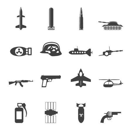 military and war icons: Silhouette Simple weapon, arms and war icons - Vector icon set