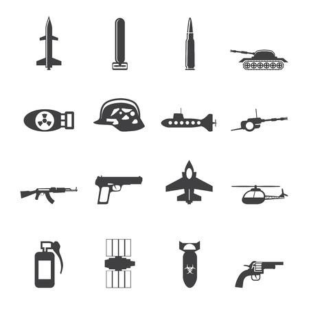 war tank: Silueta arma simple, los brazos y la guerra iconos - Vector Icon Set