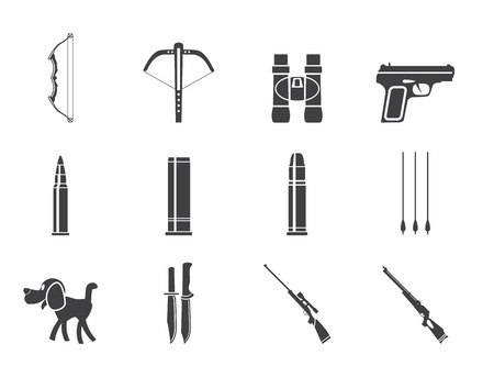 Silhouette Hunting and arms Icons - Icon Set Stock Vector - 23654912