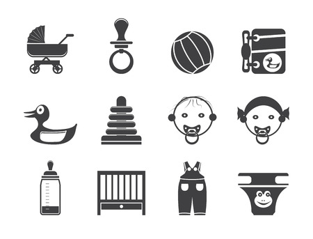swaddling clothes: Silhouette Child, Baby and Baby Online Shop Icons - Vector Icon Set Illustration