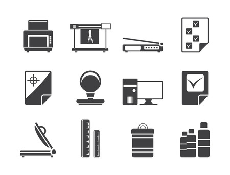 prepress: Silhouette Print industry Icons - icon set 2