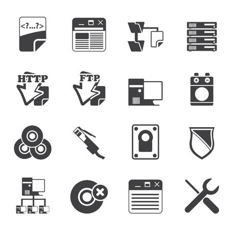 Silhouette Server Side Computer icons - Icon Set