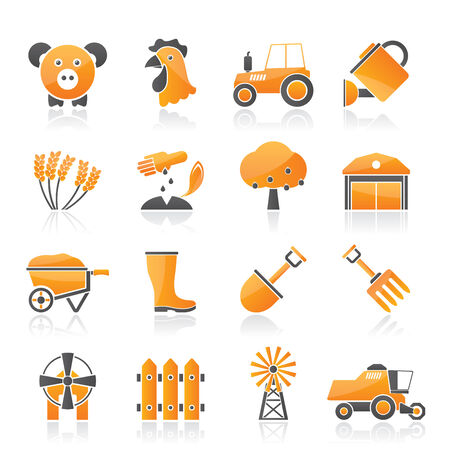sowing: Agriculture and farming icons - vector icon set