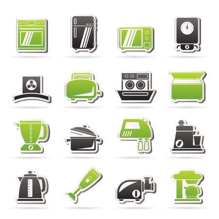 food processor: kitchen appliances  and equipment icons - vector icon set