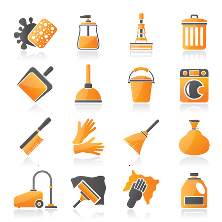wiper: Cleaning and hygiene icons - vector icon set