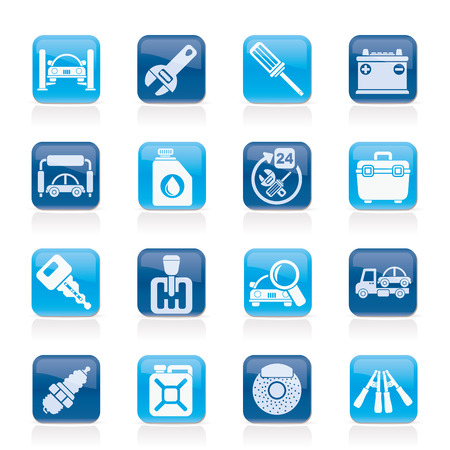 Car parts and services icons - vector icon set 1 Stock Vector - 23868384