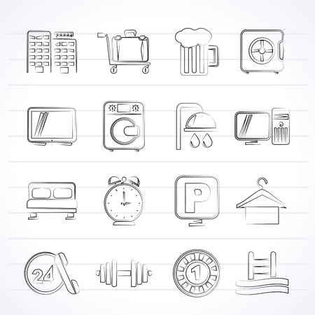 Hotel and motel icons - Vector icon Set Vector