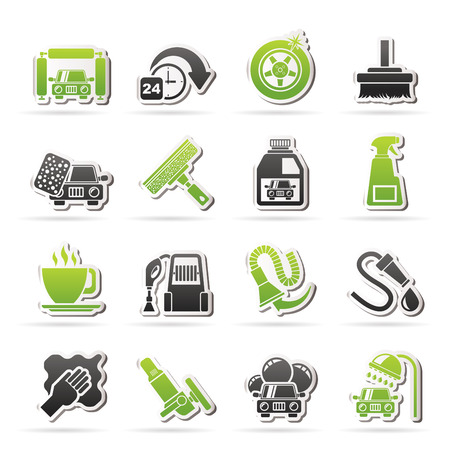 car wash objects and icons - vector icon set Иллюстрация