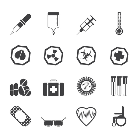 Silhouette Simple  medical themed icons and warning-signs - vector Icon Set Stock Vector - 24020581