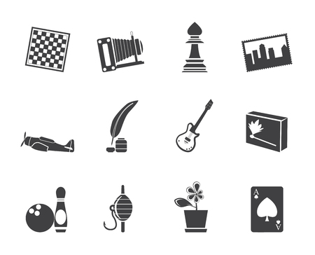 backgammon: Silhouette Hobby, Leisure and Holiday Icons - Vector Icon Set