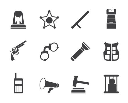 Silhouette law, order, police and crime icons - vector icon set  Vector