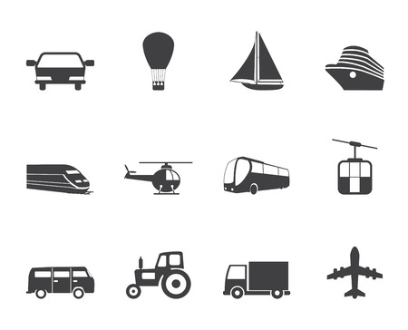 Silhouette Transportation and travel icons - vector icon set Vector