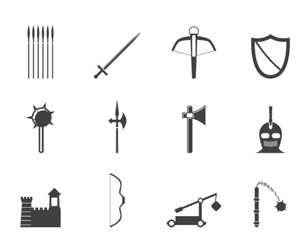 arbalest: Silhouette medieval arms and objects icons - vector icon set  Illustration