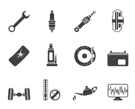 sparking plug: Silhouette Car Parts and Services icons - Vector Icon Set 1