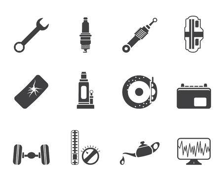 Silueta de piezas de automóvil y de Servicios de iconos - Vector Icon Set 1