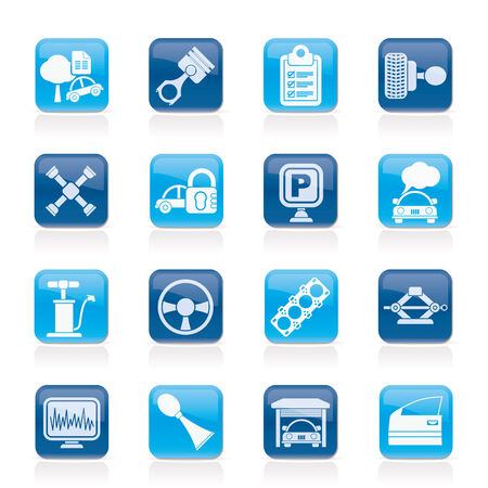 gasket: Car parts and services icons - vector icon set 2