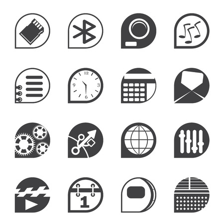 Silhouette Mobile phone  performance, internet and office icons - vector Icon Set Vector
