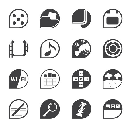 polyphony: Silhouette Phone Performance, Internet and Office Icons - Vector Icon Set