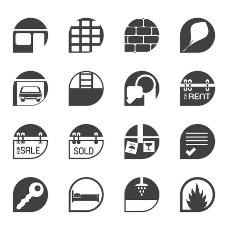 Silhouette Simple Real Estate icons - Vector Icon Set Stock Vector - 24167246