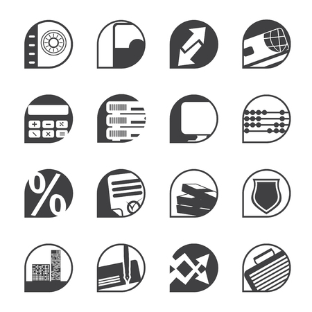 cash desk: Silhouette bank, business, finance and office icons - vector icon set Illustration