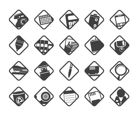 Silhouette Office tools icons -  vector icon set 3 Vector
