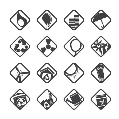 Silhouette Ecology icons - Set for Web Applications - Vector Vector
