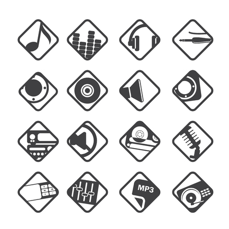 nternet: Silhouette Music and sound icons -  Vector Icon Set