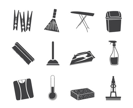 Silhouette Home objects and tools icons - vector icon set