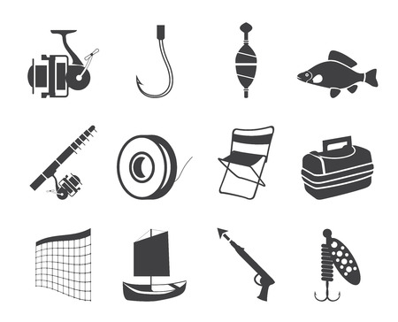 Silhouette Fishing and holiday icons - vector icon set Vector