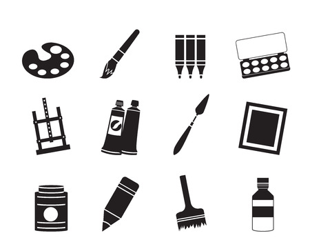 Silhouette painter, drawing and painting icons -  vector icon set Vector