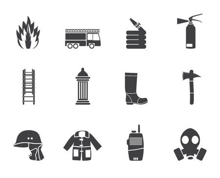 water hoses: Silhouette fire-brigade and fireman equipment icon - vector icon set