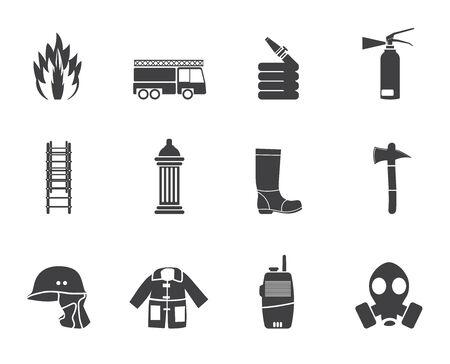 Silhouette Feuerwehr und Feuerwehrmann-Ausrüstung-Symbol - Vektor-Icon-Set