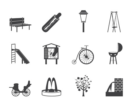 stroll: Silhouette Park objects and signs icon - vector icon set