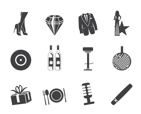 tailcoat: Silhouette Luxury party and reception icons - vector icon set Illustration