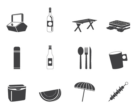 Silhouette Picnic and holiday icons - vector icon set Vector