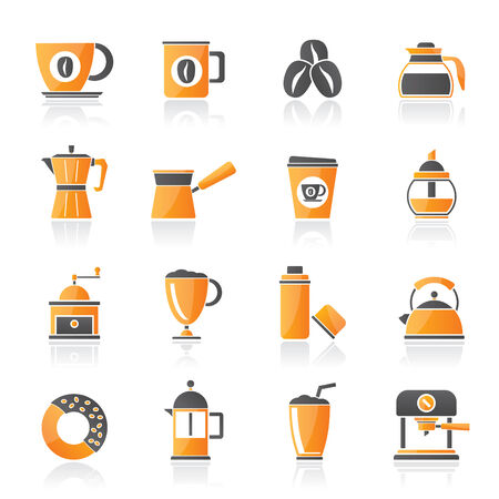 different types of coffee industry icons- vector icon set Vector