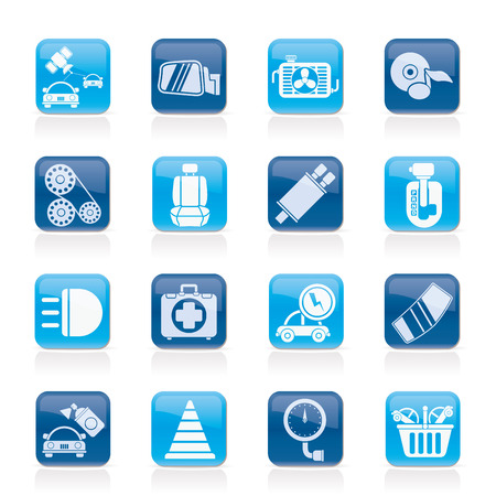 dyeing: Car parts and services icons - vector icon set 3 Illustration