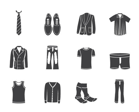 habiliment: Silhouette man fashion and clothes icons - vector icon set Illustration