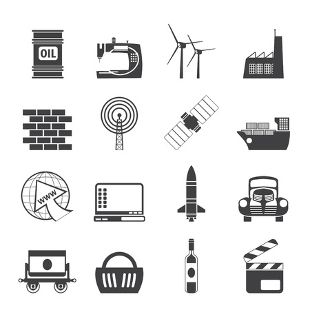 Silhouette Business and industry icons- vector icon set Vector